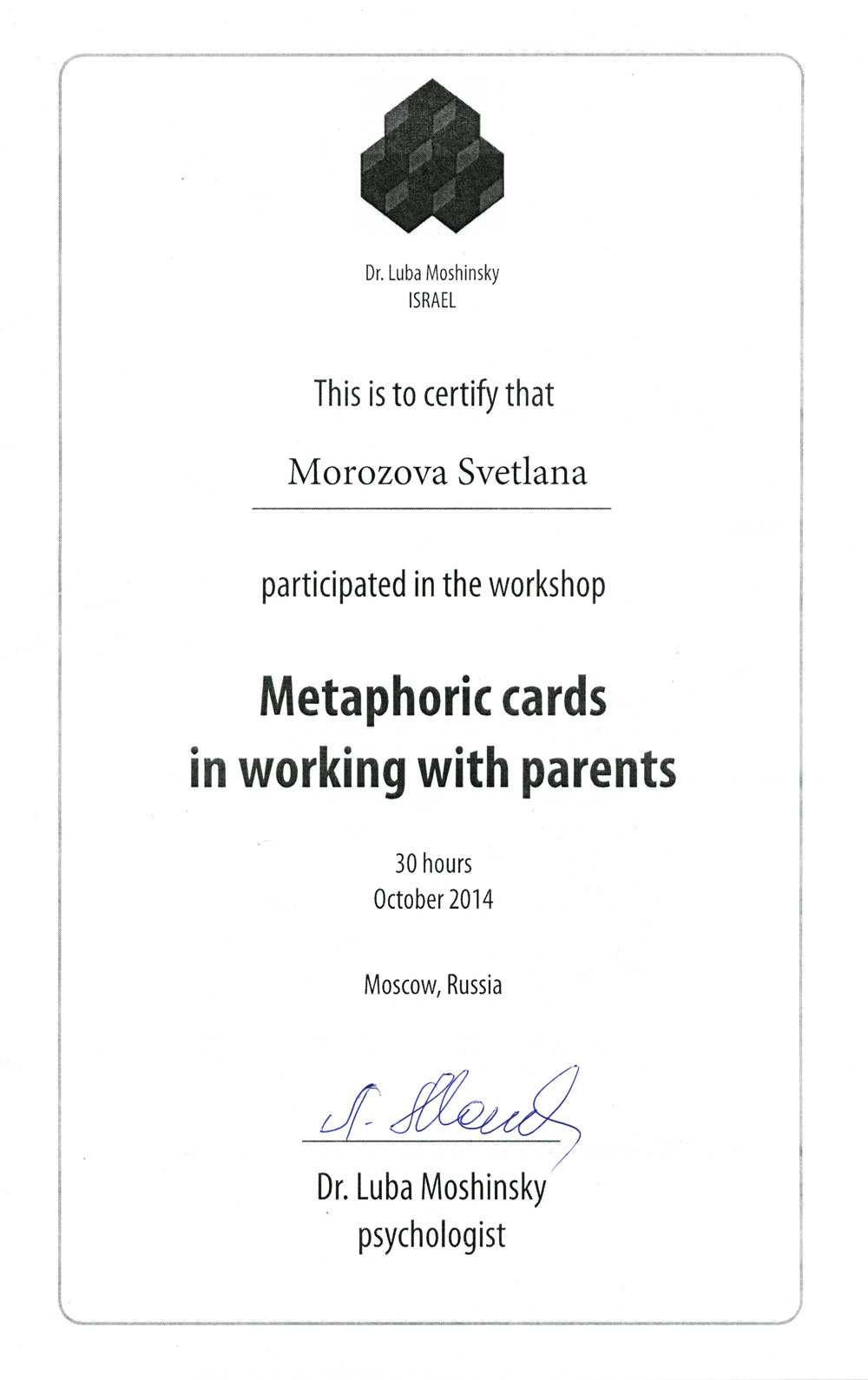 Metaphoric cards on working with parents